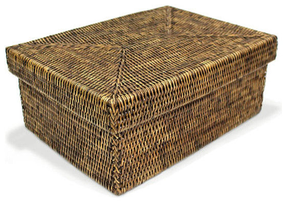 Rattan Rectangular Storage Basket With Lid Small Contemporary Decorative Bo By Hudson Vine