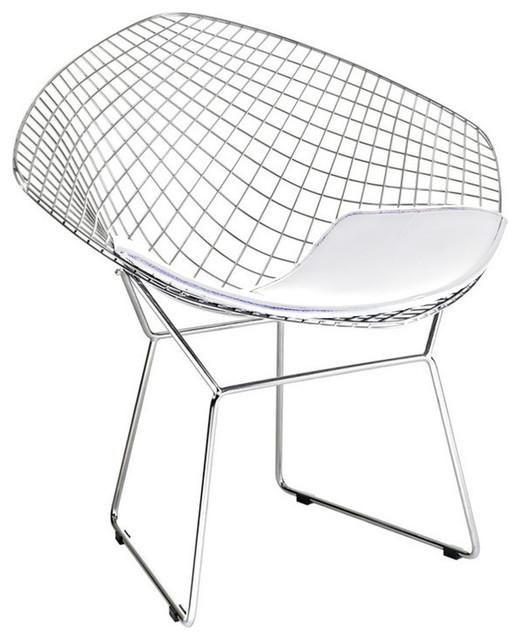 Fine Mod Imports Wire Diamond Chair, White