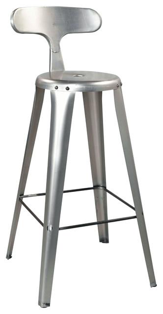 Delta Metal Bar Stool, Set of 2, Silver