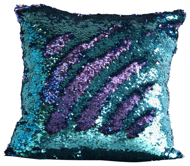 Aqua Amp Purple Sequin Mermaid Pillow Contemporary