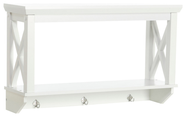 Riverridge Home X- Frame Collection, Wall Shelf With Hooks, White.