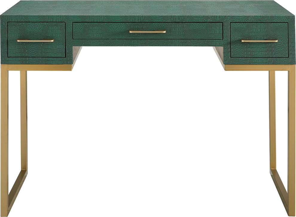 Carabelle Emerald And Gold Writing Desk With Drawers Contemporary Desks And Hutches By Hedgeapple