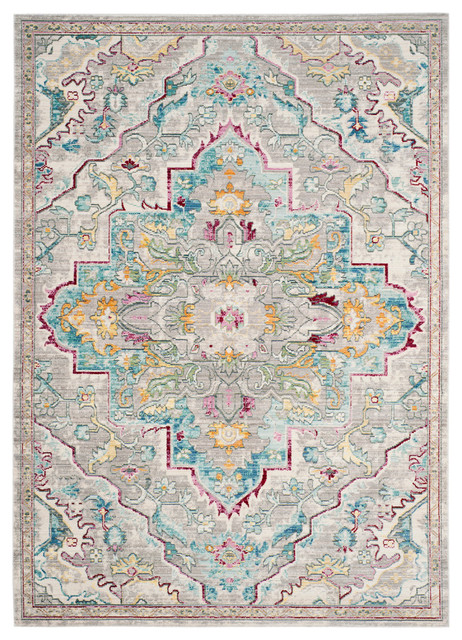 Lucy Vintage Inspired Rug, Grey and Light Blue, 152x243 cm