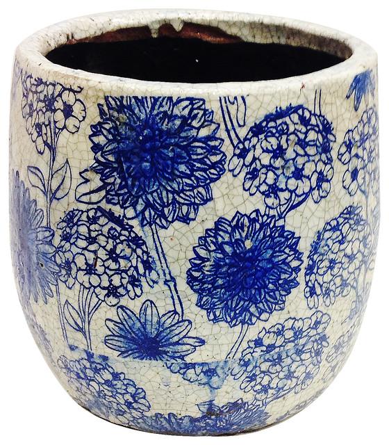 Old World Ceramic Garden Pot, Blue And White