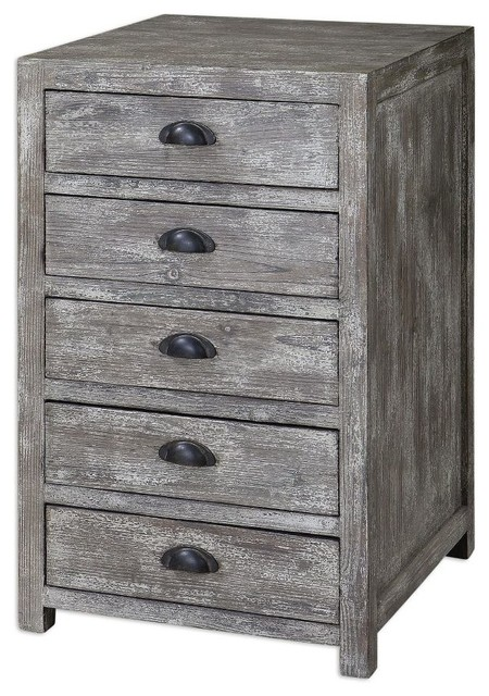 Brownish Silver Sturdy Cabinet Its Stonewashed Patina Fir Wood Home Decor  Accent Chests And