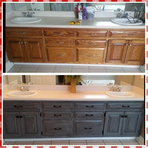 Revamped my ugly bathroom cabinets for Charcoal gray kitchen cabinets