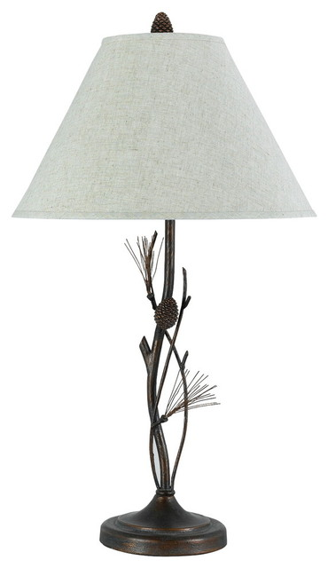 150w 3 Way Pine Twig Iron Table Lamp, Rust Finish, Gray White Shade.