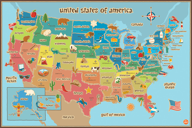 Kids Usa Dry Erase Map Wall Decal. -1