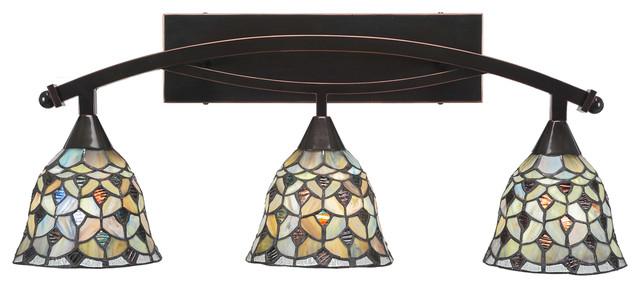 on sale 7fd2c 05245 Bow 3Lt Bath Bar Black Copper Finish W/7