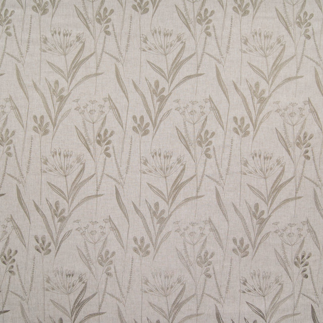 Flax Neutral Floral Embroidery Upholstery Fabric Contemporary Upholstery