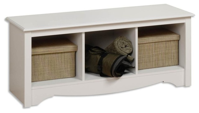 Entryway Storage Bench, With 3 Cubbies, White Contemporary Accent And  Storage