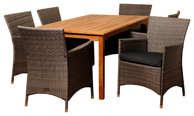 Norris 7-Piece Teak And Wicker Rectangular Dining Set With Grey Cushions.