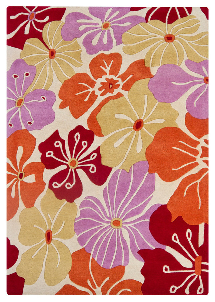 Int Transitional Area Rug Red Purple Yellow Cream Orange Tropical Area Rugs By Plushrugs