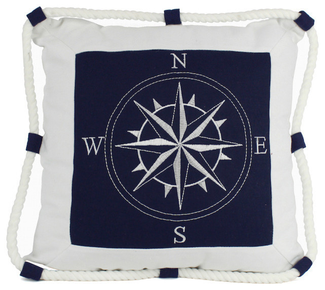 Decorative Throw Pillow Blue Compass With Nautical Rope 16 Beach Style Decorative Pillows By Handcrafted Nautical Decor Houzz