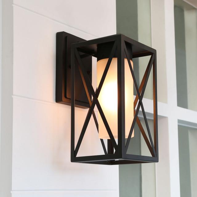 Laluz Lantern Outdoor Wall Light Black