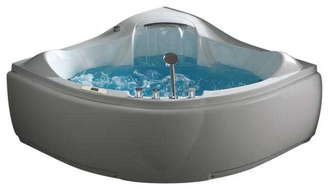 Eago 5 Ft Corner Acrylic White Waterfall Whirlpool Bathtub For Two.