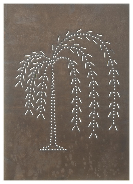 Four Handcrafted Punched Tin Cabinet Panel Primitive Willow Tree Design, Blacken
