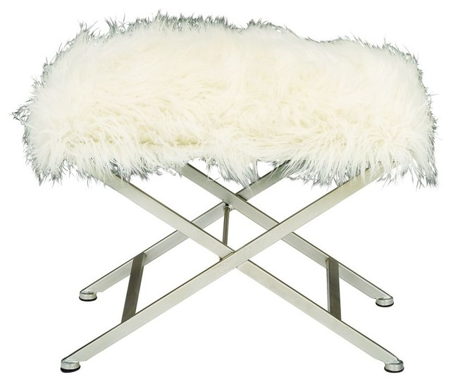 Metal Fur Stool, White, 25\