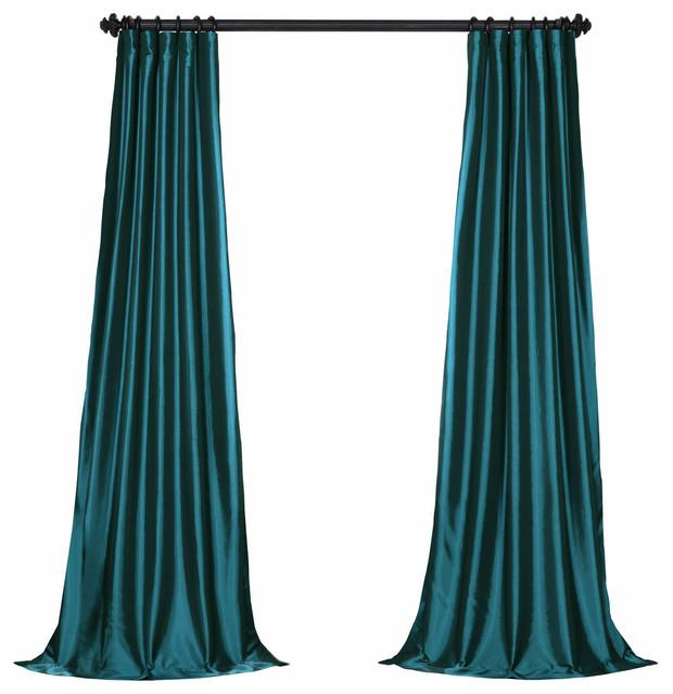 "Mediterranean Fauxsolid Taffeta Curtain Single Panel, 50""x108""."
