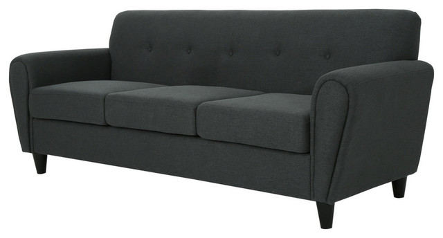 1a1de65e586f GDF Studio Emily Buttoned Traditional Fabric 3-Seat Sofa - Midcentury -  Sofas - by GDFStudio