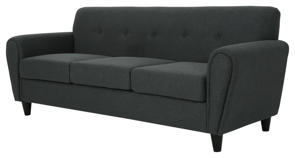 GDF Studio Emily Buttoned Traditional Fabric 3-Seat Sofa, Dark Gray