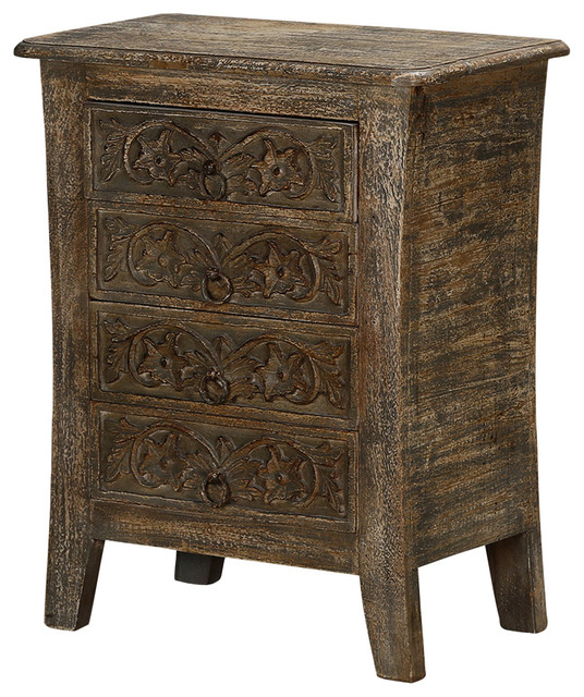 """Palazzo 21"""" Global Design 4-Drawer Rustic Solid Wood Night Stand - Farmhouse - Nightstands And ..."""