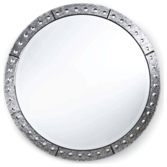 Venetian Round Mirror Large, Venetian Large Round Silver Wall Mirror
