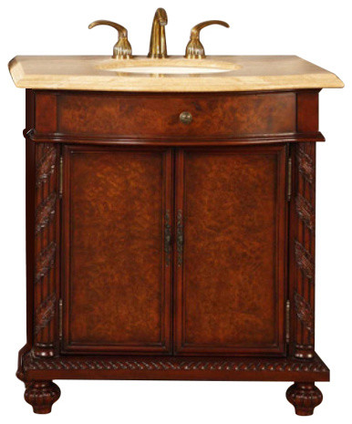 34 Furniture Style Single Sink Vanity With Led Lighting Traditional Bathroom Vanities And Consoles By Unique Online