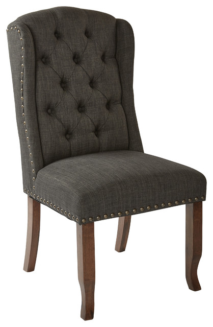 Hepburn Tufted Wing Dining Chair, Charcoal.