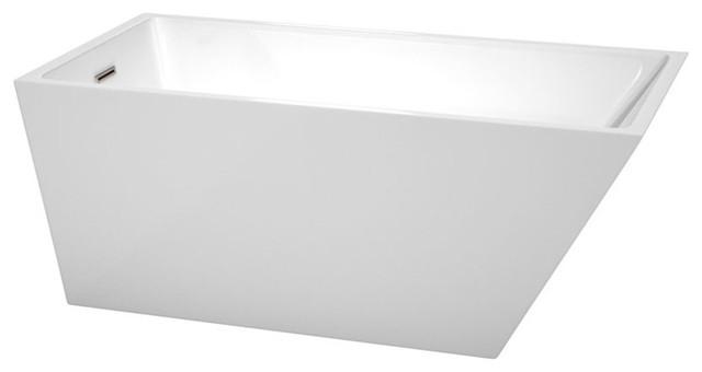 "59"" Freestanding Bathtub, White, Brushed Nickel, Drain, Overflow Trim."