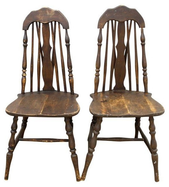 Antique Splat Tapered Back Windsor Chairs - A Pair - Dining Chairs ...