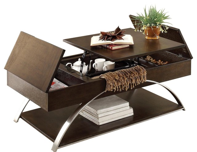 Takai Modern Art Deco Cocktail Table With Lift Top And Storage, Espresso