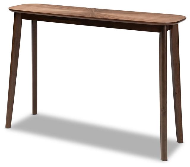 Brigby Mid Century Modern Walnut Finished Wood Console Table Walnut Midcentury Console Tables By Baxton Studio