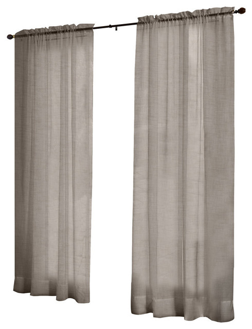 Belgian Textured Look Sheer Rod Pocket Top Curtain Panels, Set Of 2, Grey.