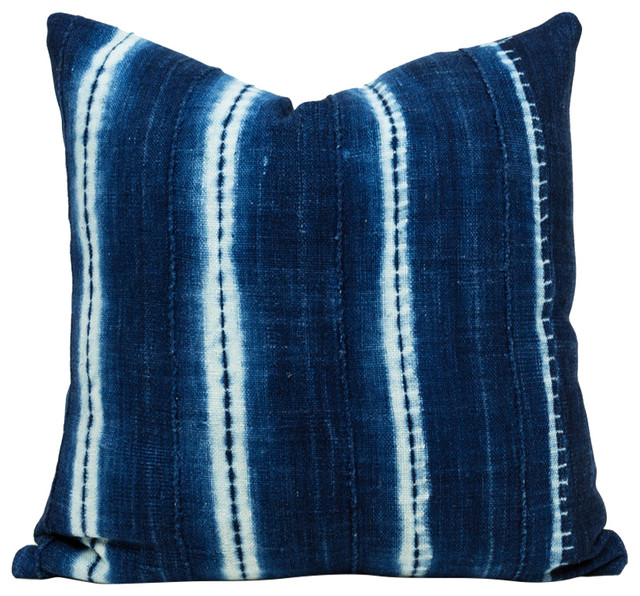 """Bend African Mud Cloth Pillow, 22""""x22"""", Zipper, Cover Only"""