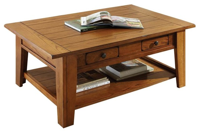 liberty cocktail table with 2-drawer, rustic oak - transitional