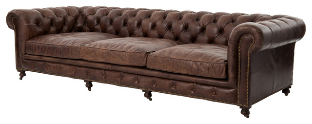 Vintage Cigar Leather Chesterfield