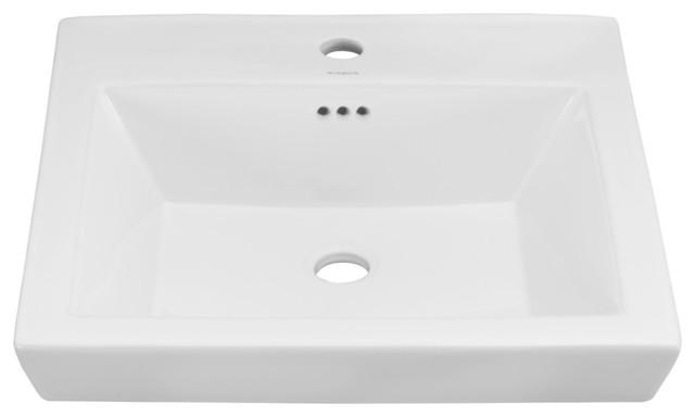 Ronbow Essentials Rhombus 19 Square Ceramic Drop-In Bathroom Sink, White.