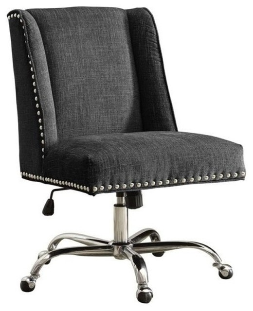 Bowery Hill Armless Upholstered Office Chair, Charcoal.