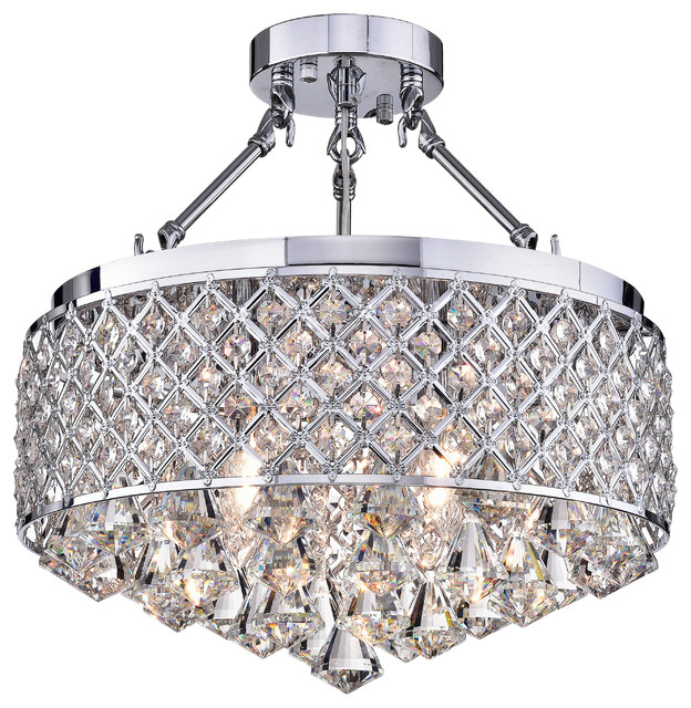"Viola Finish Crystal 15"" Semi Flush Lamp, Chrome."
