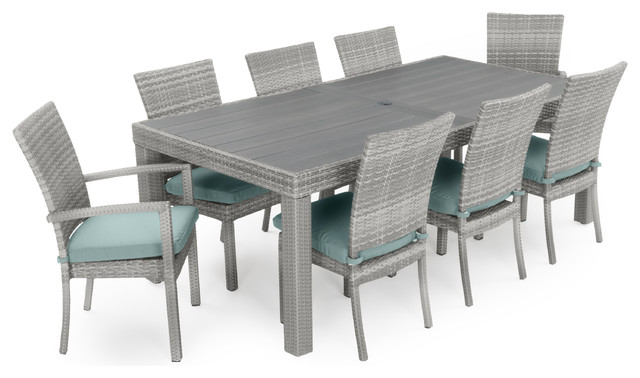 Cannes 9 Piece Dining Set, Bliss Blue Tropical Outdoor Dining Sets