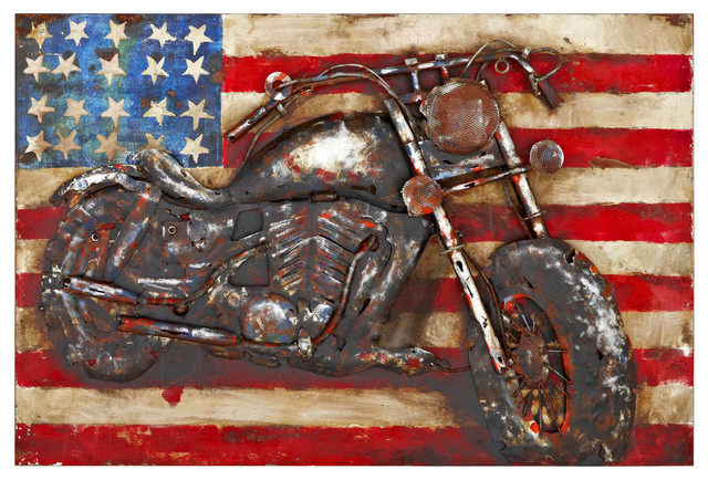 Rectangular Wall Art american motorcycle 3d rectangular metal wall art - metal wall art