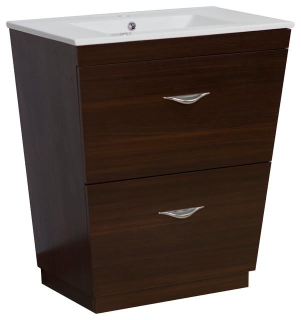 Plywood-Melamine Vanity Set, Wenge With Single Hole Cupc Faucet.