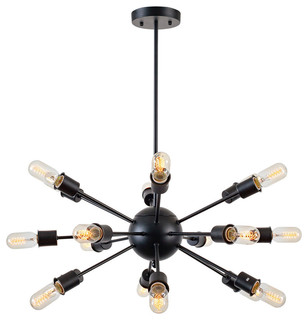 Sputnik 18-Light Chandelier, Black