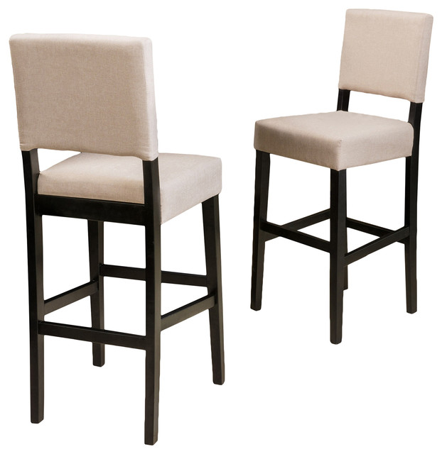 fabric bar stools canada upholstered with arms canal set tan transitional backs and