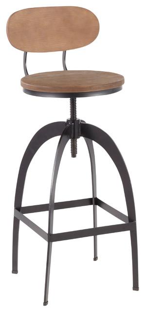 Dakota Industrial Mid-Back Barstool, Black Metal and Medium Brown Wood