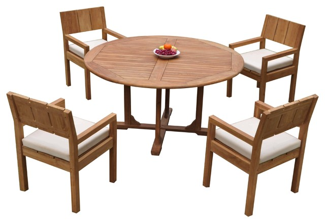 5 Piece Outdoor Patio Teak Dining Set, Round Dining Table Set For 5 Chairs
