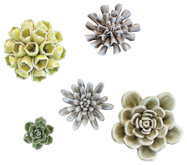 Grays And Greens Ceramic Succulents, Set of 5