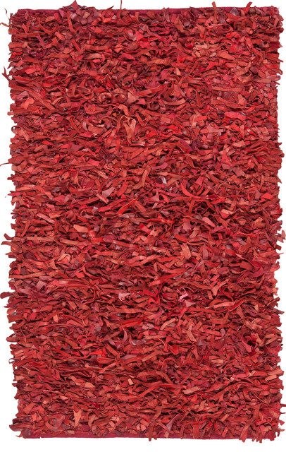 Rectangular Shag Rug, Red, 6'x4'