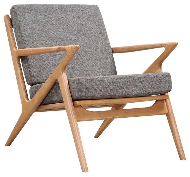 Limn Midcentury Modern Chair Ash Wood Z Frame Gray
